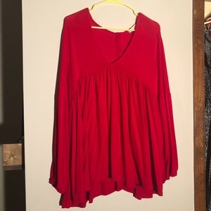 ANTHROPOLOGIE red babydoll blouse